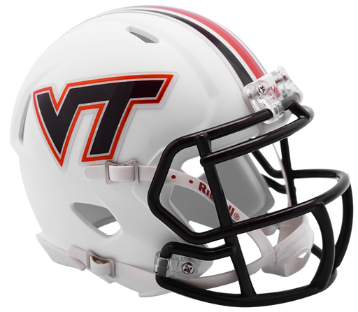 Virginia Tech Hokies White Riddell Mini Speed Helmet - Matte White