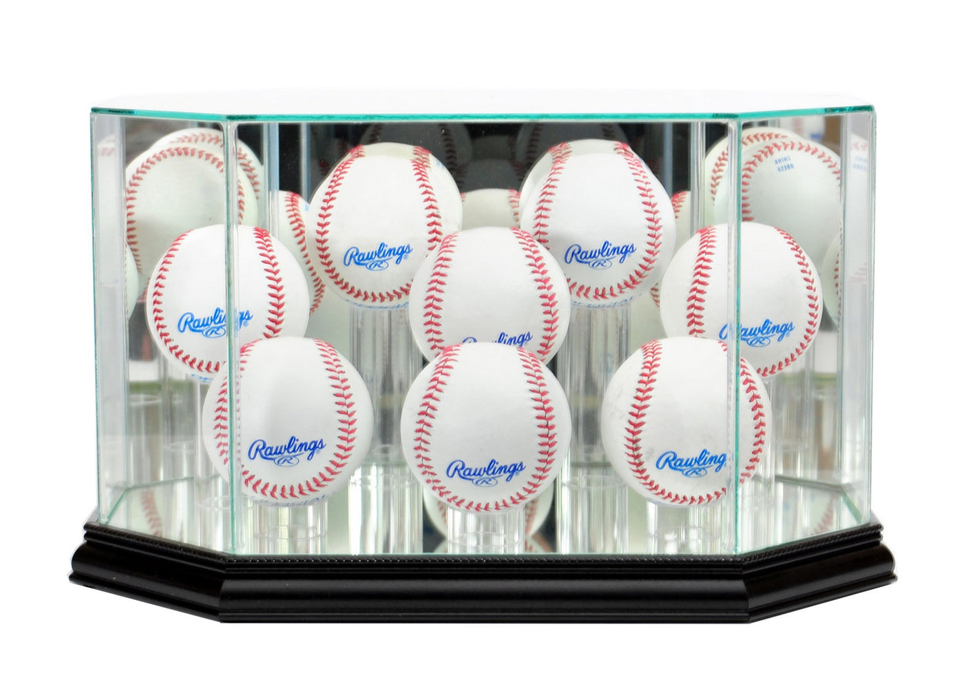 Eight Baseball Display Case with Mirrors