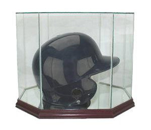 Octagon Batting Helmet Display Case with Mirrors