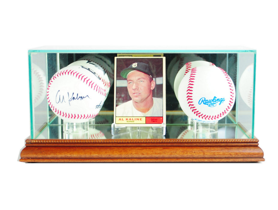 Card and Double Baseball Display Case with Mirrors