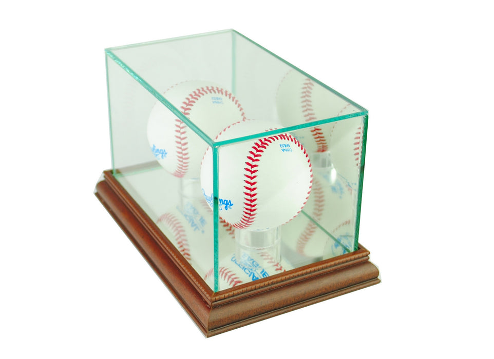 Double Baseball Display Case with Mirrors