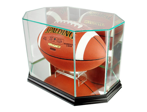 Octagon Football Display Case with Mirrors