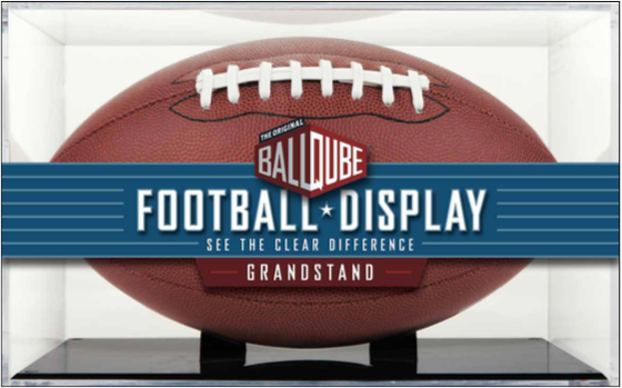 Black Base Grandstand Football Display Case