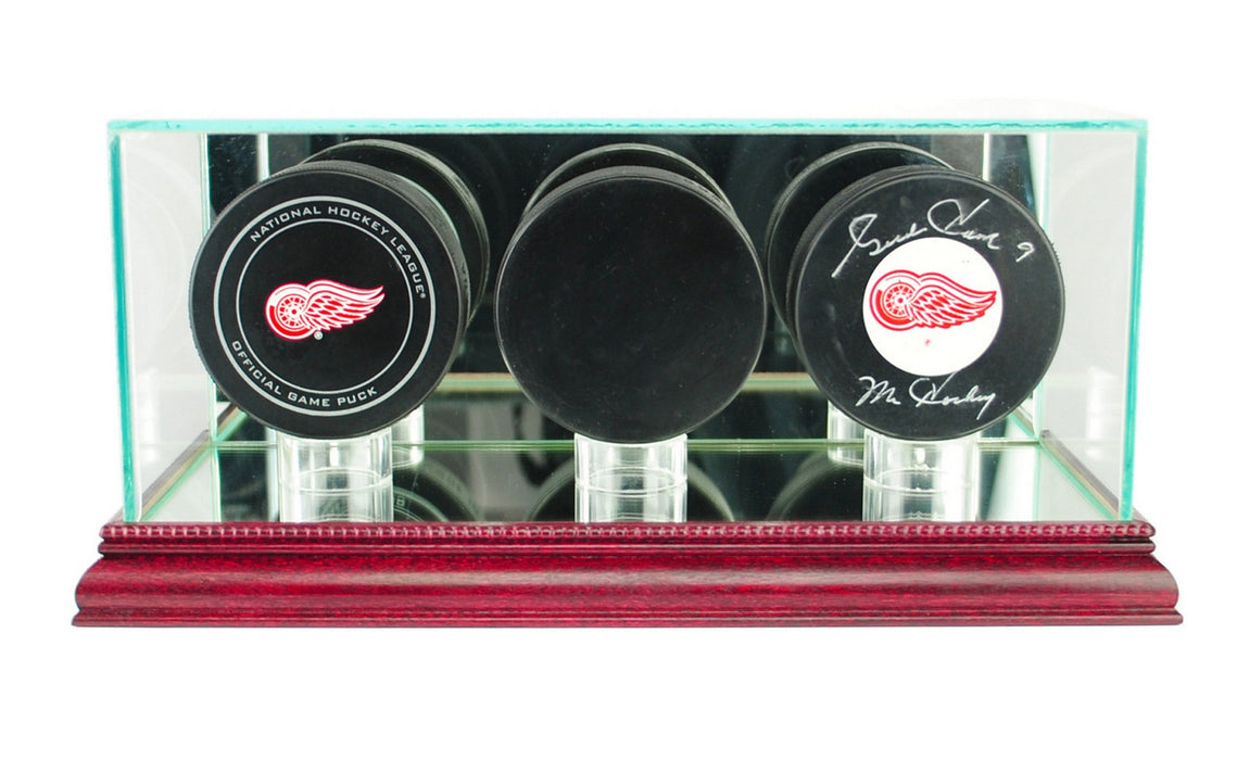 Triple Puck Display Case with Mirrors