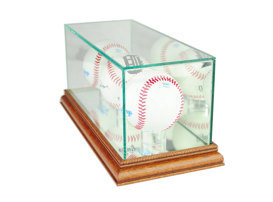 Triple Baseball Display Case with Mirrors