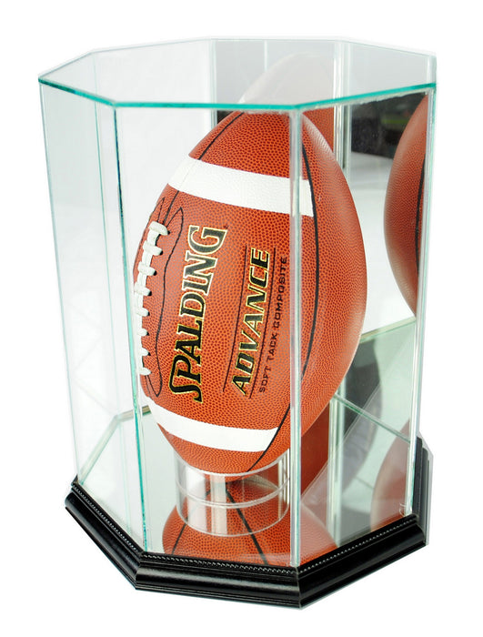 Vertical Octagon Football Display Case with Mirrors