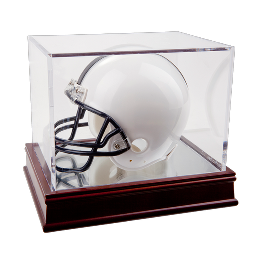 BallQube Mini Helmet Display Case on Wooden Base