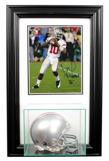 Wall Mounted Mini Helmet Display Case and 8x10 Photo
