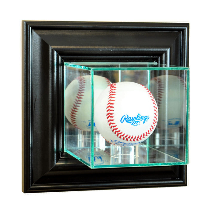 Wall Mounted Baseball Display Case with Mirrors