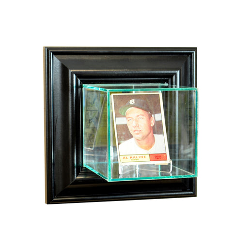 Wall Mounted Single Card Display Case with Mirrors