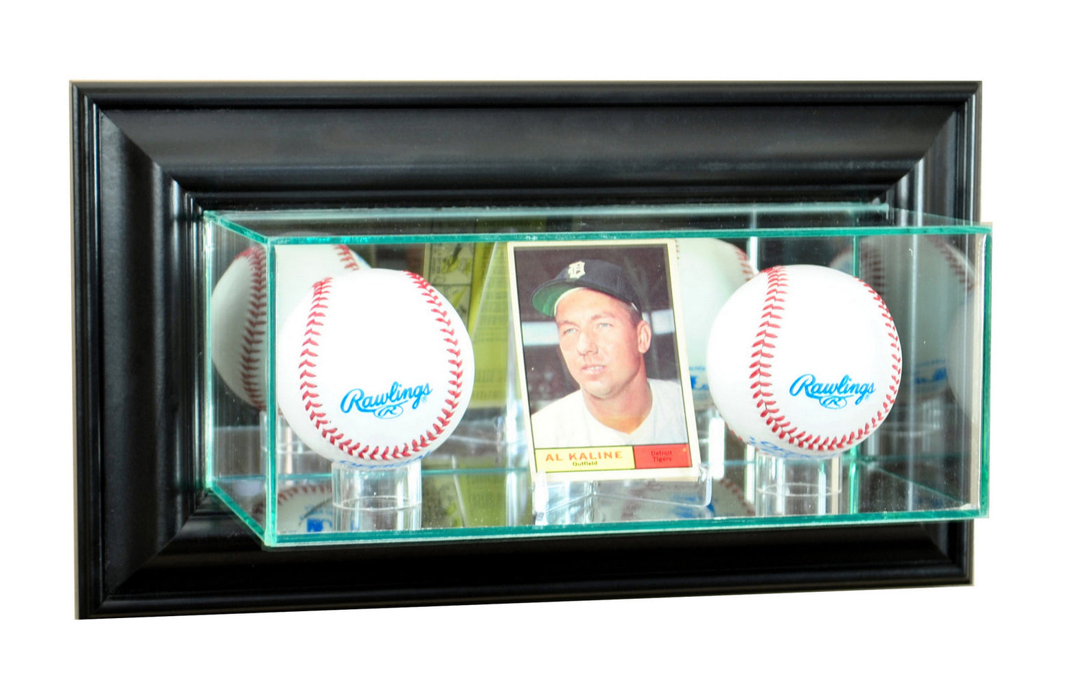 Wall Mounted Card and Double Baseball Display Case with Mirrors