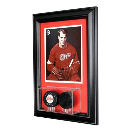 Wall Mounted Double Puck Display Case and 8x10 Photo