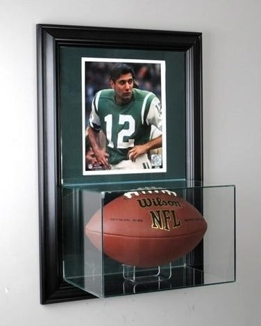 Wall Mounted Football Display Case and 8x10 Photo