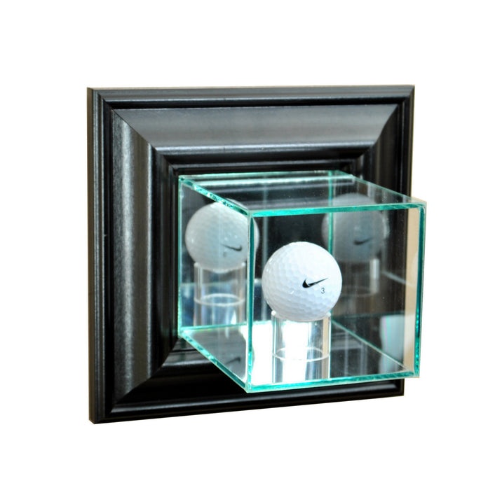 Wall Mounted Golf Ball Display Case with Mirrors