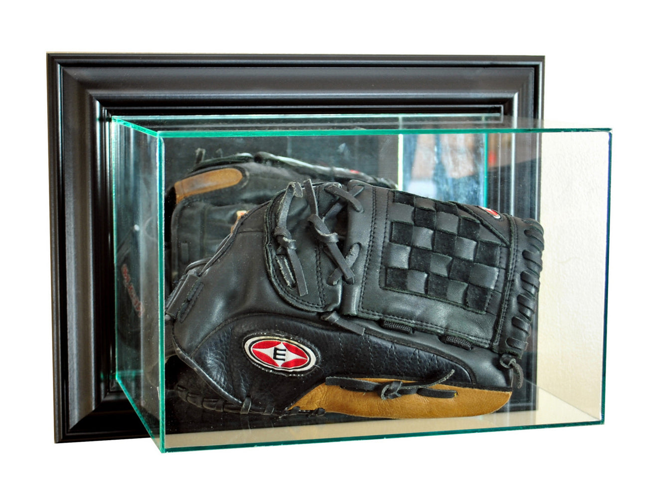 Wall Mounted Baseball Glove Display Case with Mirrors
