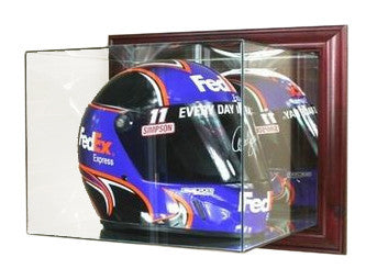 Wall Mounted Racing Helmet Display Case with Mirrors