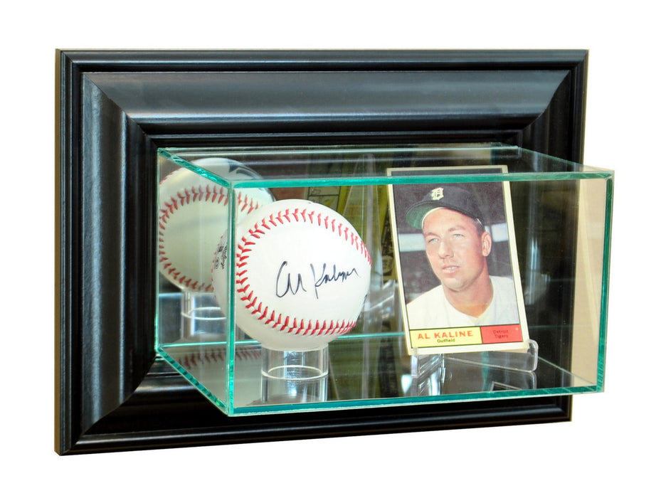 Wall Mounted Card and Single Baseball Display Case with Mirrors