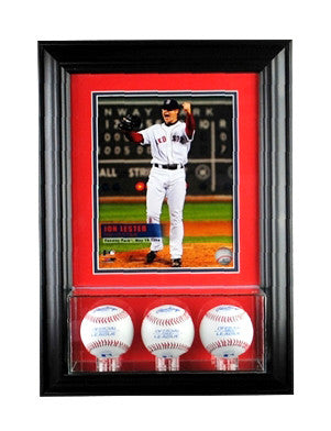 Wall Mounted Triple Baseball Display Case and 8x10 Photo