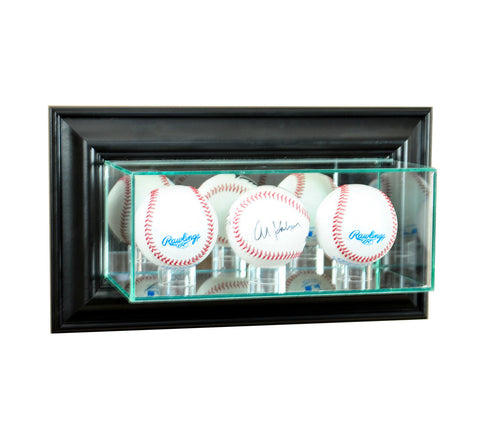 Wall Mounted Triple Baseball Display Case with Mirrors