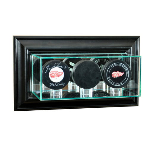 Wall Mounted Triple Puck Display Case with Mirrors