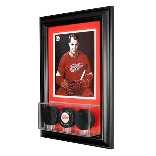 Wall Mounted Triple Puck Display Case and 8x10 Photo