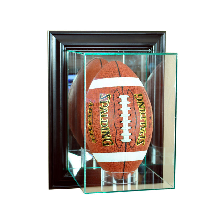 Wall Mounted Vertical Football Display Case with Mirrors
