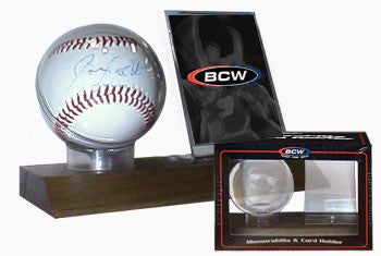 BCW Woodbase Baseball & Card Holder (Real Walnut)