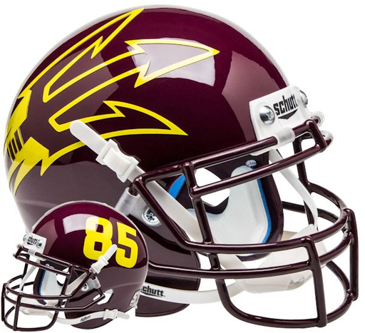 Arizona State Sun Devils Schutt XP Mini Helmet - Maroon Large Decal w/ 85
