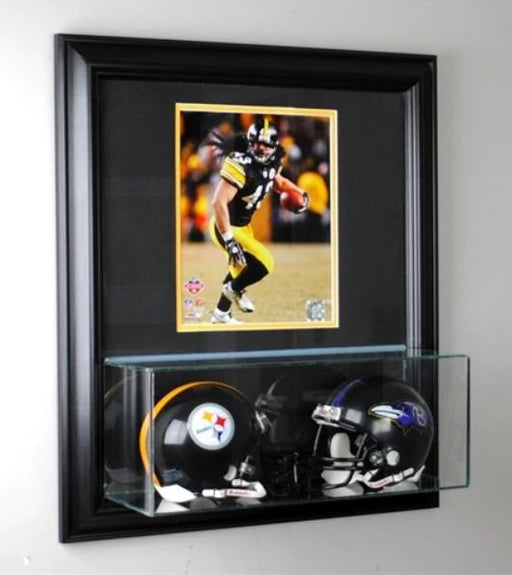 Wall Mounted Double Mini Helmet Display Case and 8x10 Photo