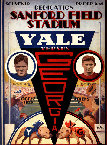 1929 Georgia Bulldogs vs Yale Bulldogs 22x30 Canvas Historic Football Poster