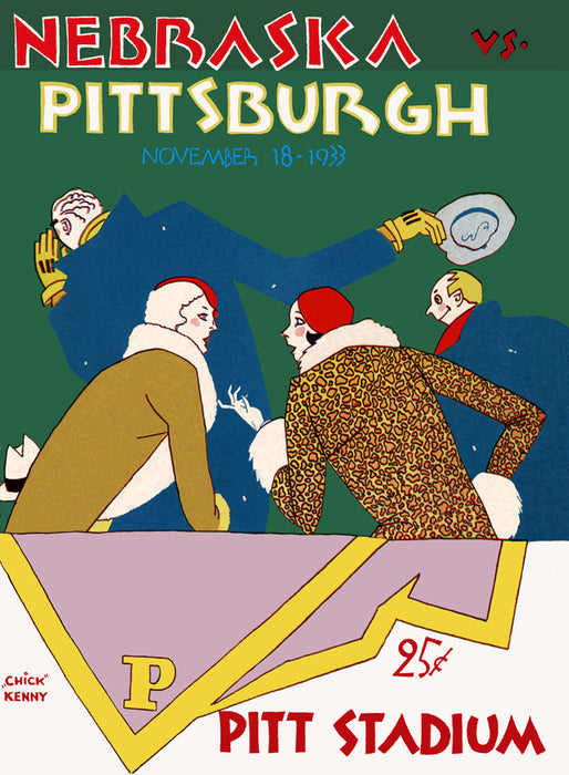 1933 Pittsburgh Panthers vs Nebraska Cornhuskers 22x30 Canvas Historic Football Poster