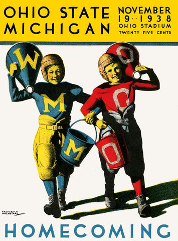 1938 Ohio State Buckeyes vs Michigan Wolverines 30x40 Canvas Historic Football Poster