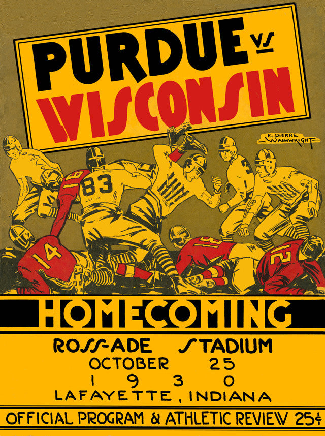 1930 Purdue Boilermakers vs Wisconsin Badgers 22x30 Canvas Historic Football Poster