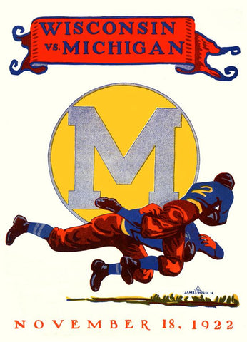 1922 Michigan Wolverines vs Wisconsin Badgers 30x40 Canvas Historic Football Poster