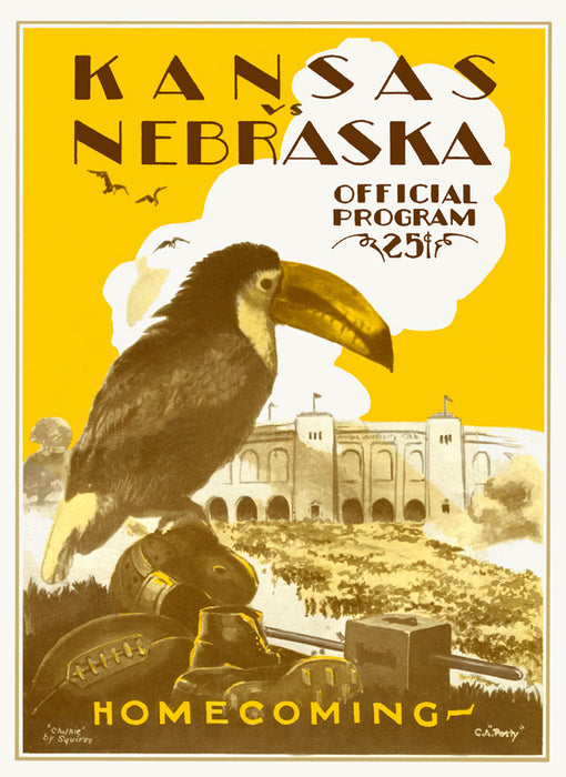 1928 Kansas Jayhawks vs Nebraska Cornhuskers 22x30 Canvas Historic Football Poster