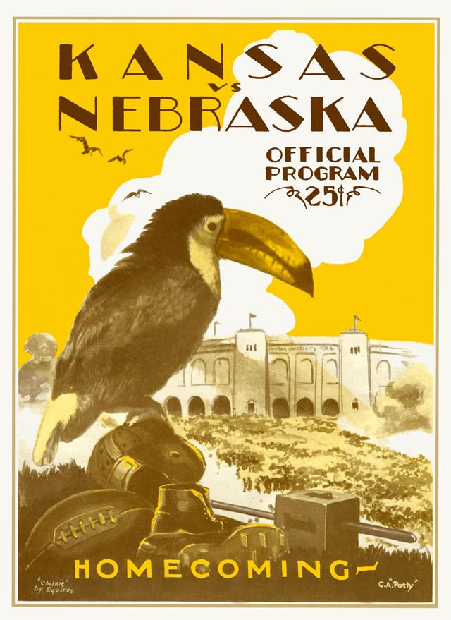 1928 Kansas Jayhawks vs Nebraska Cornhuskers 30x40 Canvas Historic Football Poster