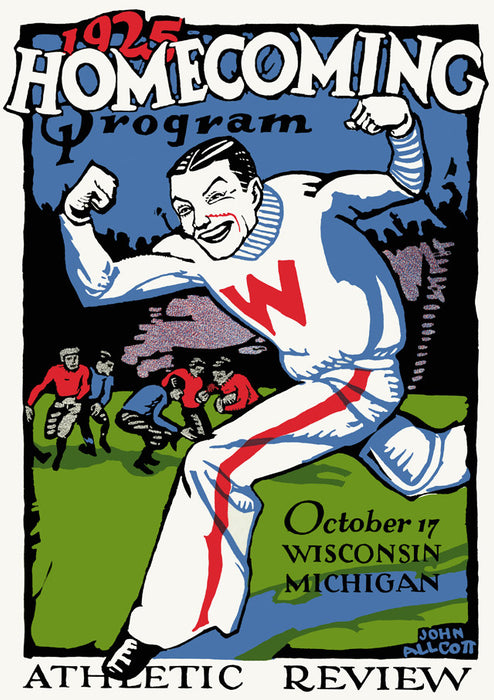 1925 Wisconsin Badgers vs Michigan Wolverines 22x30 Canvas Historic Football Poster