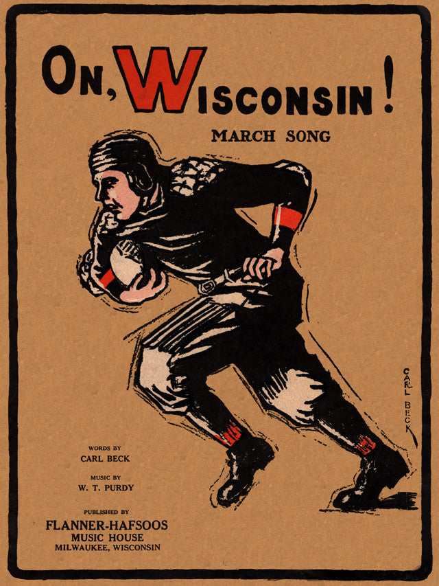 1925 On Wisconsin Badgers! 22x30 Canvas Historic Football Poster