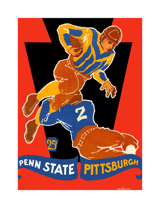 1928 Pittsburgh Panthers vs Penn State Nittany Lions 22x30 Canvas Historic Football Poster