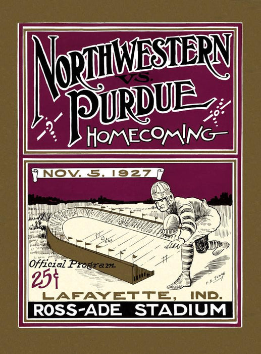 1927 Purdue Boilermakers vs Northwestern Wildcats 30x40 Canvas Historic Football Poster
