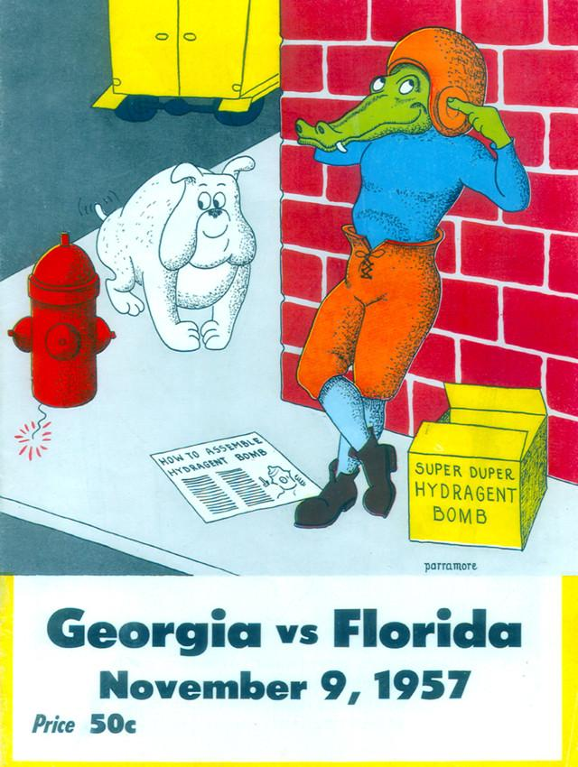 1957 Florida Gators vs Georgia Bulldogs 30x40 Canvas Historic Football Poster