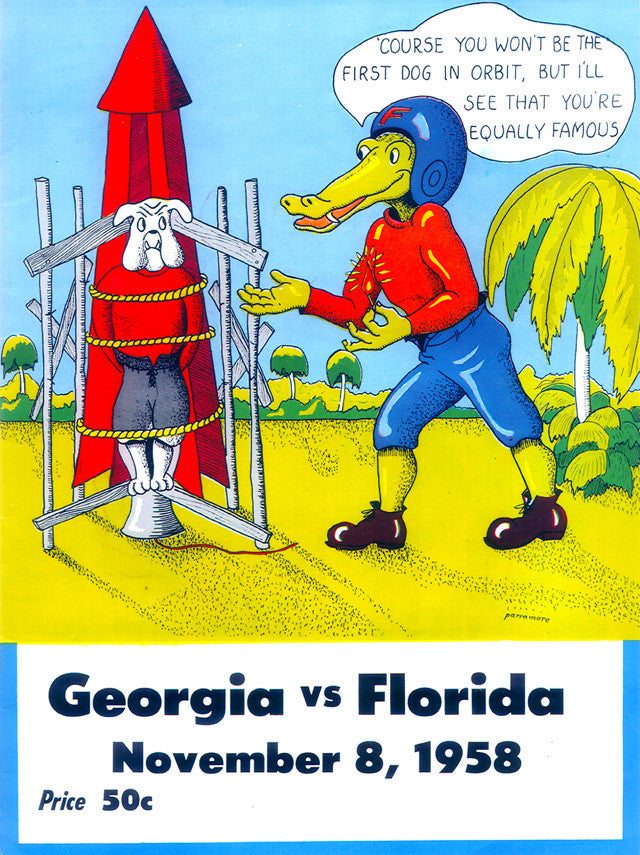 1958 Florida Gators vs Georgia Bulldogs 22x30 Canvas Historic Football Poster