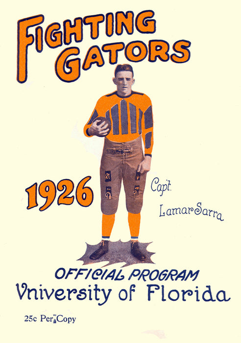 1926 Florida Gators vs Washington & Lee 22x30 Canvas Historic Football Poster