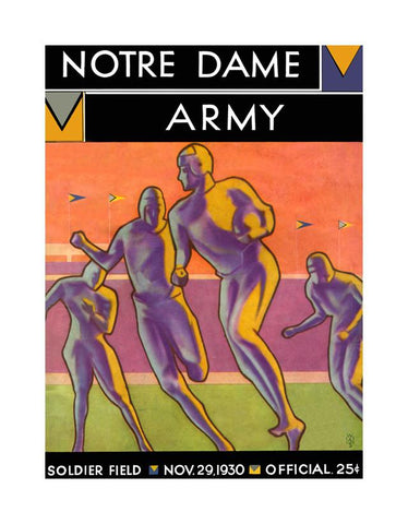 1930 Notre Dame Fighting Irish vs Army Black Knights 30x40 Canvas Historic Football Poster