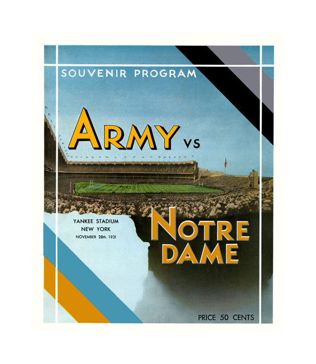 1931 Notre Dame Fighting Irish vs Army Black Knights 22x30 Canvas Historic Football Poster