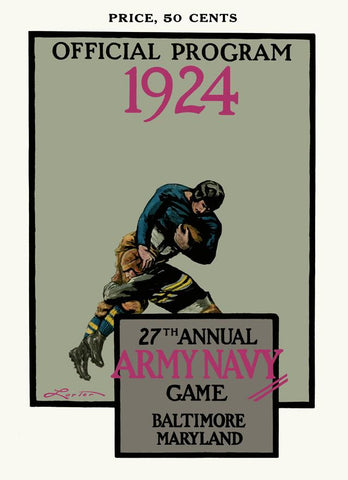 1924 Army Black Knights vs Navy Midshipmen 30x40 Canvas Historic Football Poster