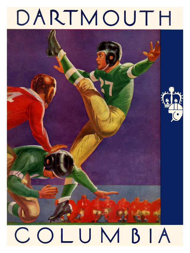 1937 Columbia Lions vs Dartmouth Big Green 22x30 Canvas Historic Football Poster