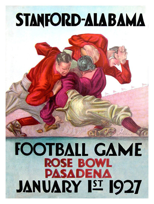 1927 Alabama Crimson Tide vs Stanford Cardinal 22x30 Canvas Historic Football Poster