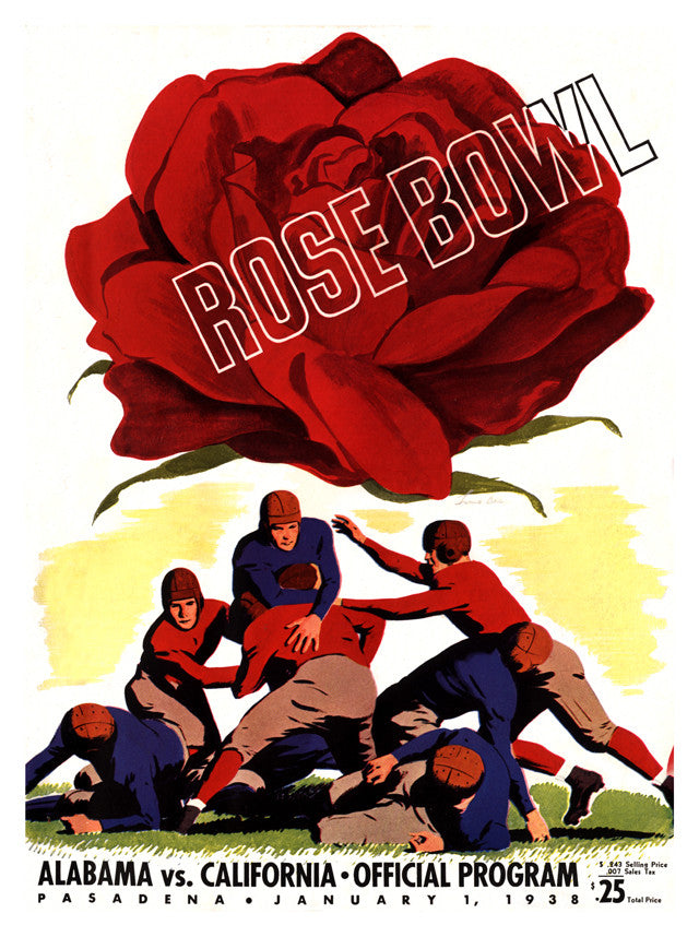 1938 California Bears vs Alabama Crimson Tide 22x30 Canvas Historic Football Print