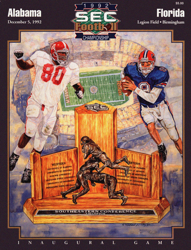 1992 Alabama Crimson Tide vs Florida Gators SEC Championship 22x30 Canvas Historic Football Poster